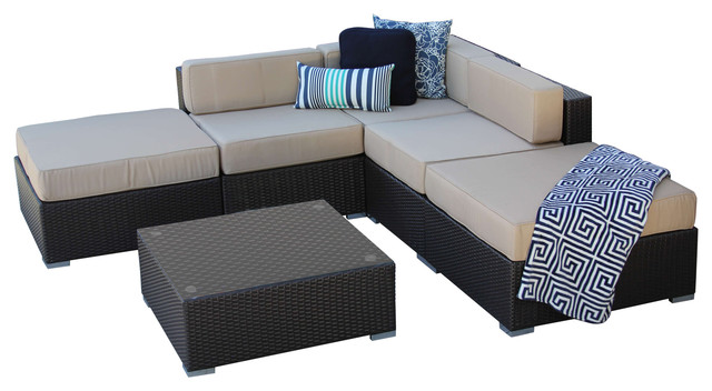 6 PC Rattan Wicker Outdoor All Weather Patio Sectional