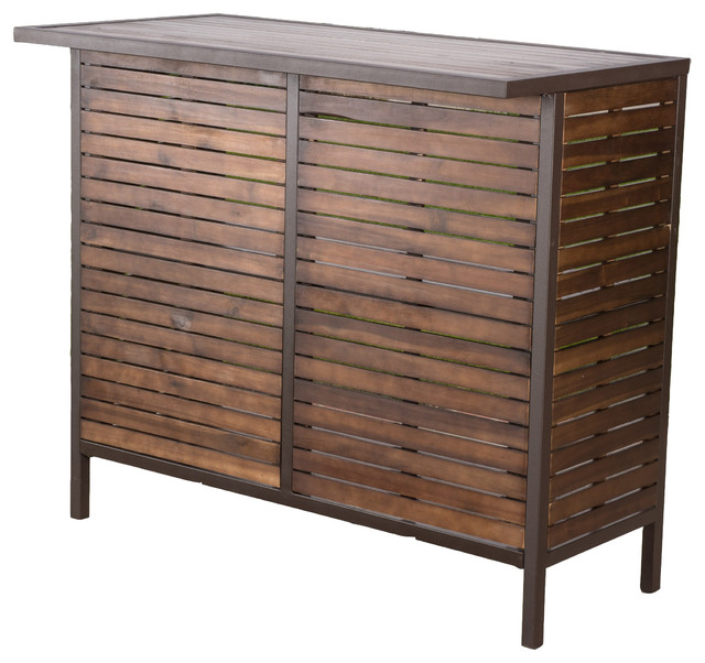 Isabel Dark Brown Acacia Wood And Rustic Metal Outdoor Bar Table