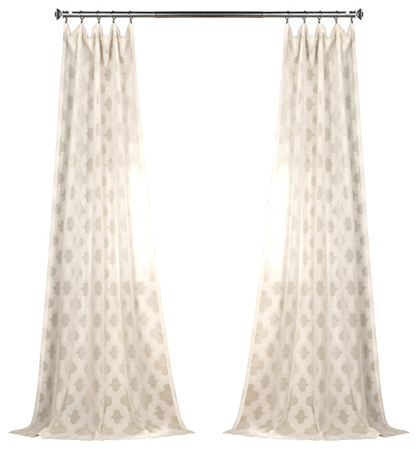 Calais Tile Patterned Fauxlinen Sheer Curtain Single Panel, 50x84.