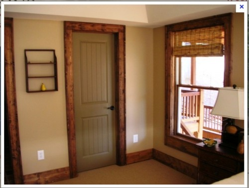 Painted interior doors with stained trim for Paint colors for wood trim