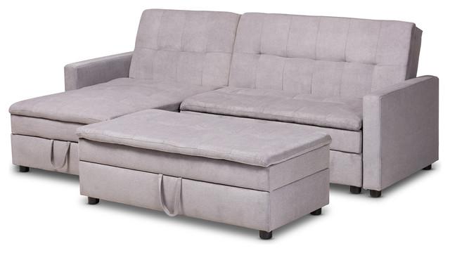 Lynna Light Gray Left Facing Storage Sectional Sleeper Sofa With Ottoman