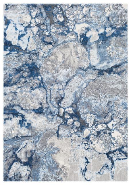 Aberdine Modern Bright Blue, Navy Area Rug, 5&x27;2x7&x27;6.