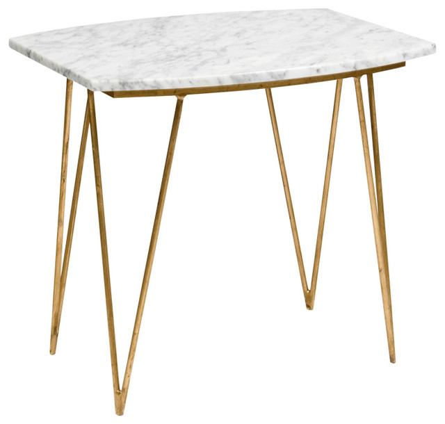 Suzy Marble Side Table Gold And White
