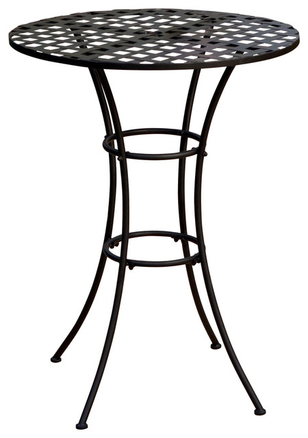 Merveilleux Black Wrought Iron Outdoor Bistro Patio Table With Timeless Round Tabletop