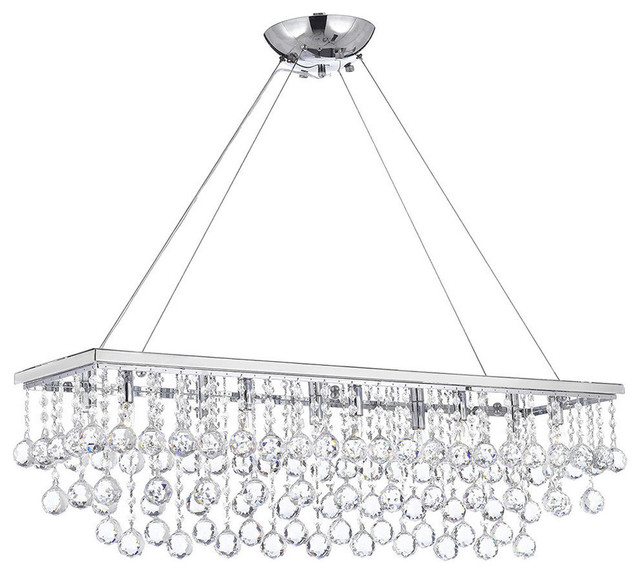 """10-Light 40"""" Chandelier With Crystal Balls"""
