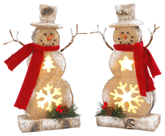 Battery-Operated Lighted Resin Snowman Figuries, Set Of 2.