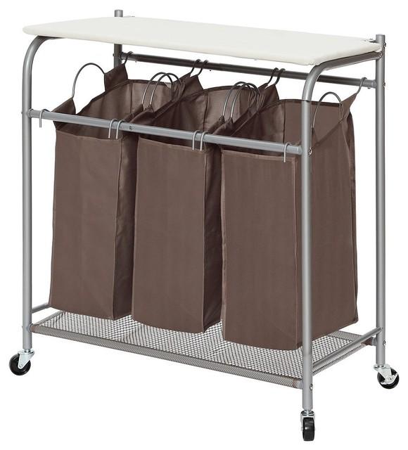 StorageManiac   StorageManiac 3 Lift Off Bags Laundry Sorter With Ironing  Board, Rolling Hamper