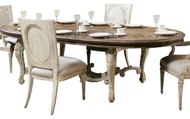 American Drew Jessica Mcclintock Boutique Oval Dining Table With White Base