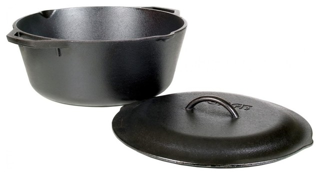 Lodge Dutch Oven With Loop Handles And Iron Cover, 7 Qt..