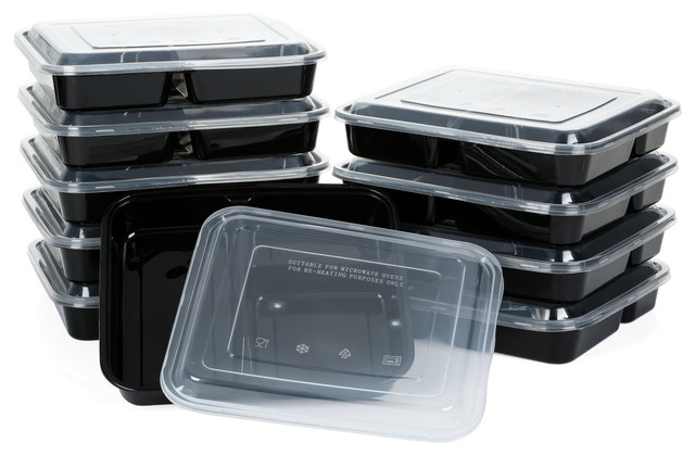 3-Compartment Meal Prep Container Food Storage, Set Of 10.