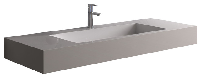 "Adm Large Rectangular Wall Mounted Sink, Glossy White, 47""x19"""