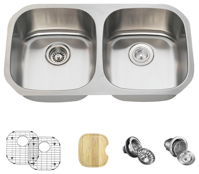 Equal Double Bowl Stainless Steel Sink, 16-Gauge, Ensemble.