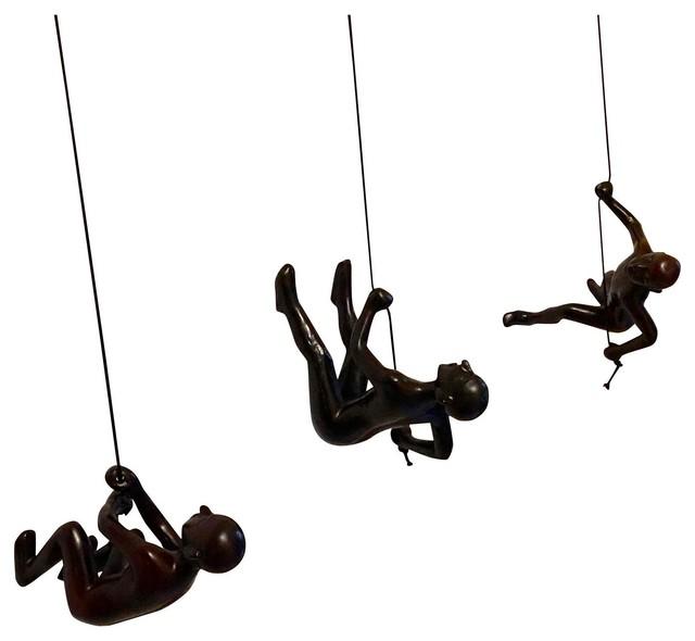 Climbing Man Wall Art 3-piece climbing man wall art set - eclectic - wall sculptures
