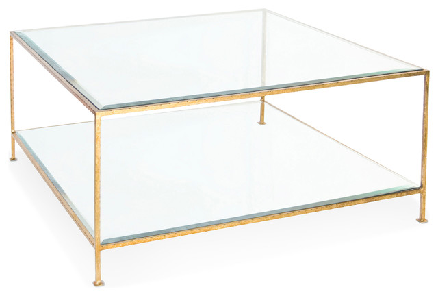 cabot hollywood regency gold glass coffee table - transitional
