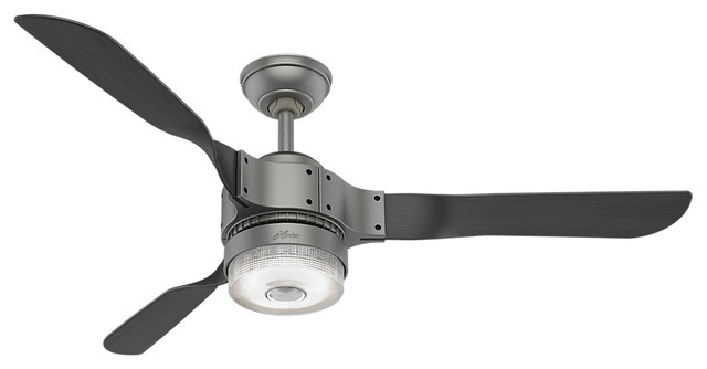 Hunter Wifi 54 Apache Matte Silver Ceiling Fan With Light And Remote.