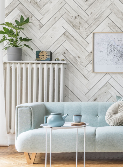 Herringbone Whitewashed Barn Wood Planks Mural Wall Art Wallpaper Peel And Stick Farmhouse Wallpaper By Simple Shapes