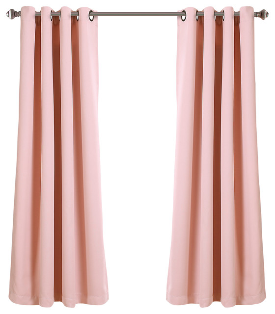 """Lush Decor Insulated Grommet Blackout Curatin, Pink, Pair, 52""""x63""""."""