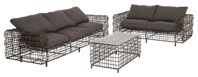 The Metal Sofas, 3 Piece Set Industrial Outdoor Lounge Sets