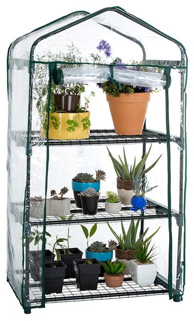 "Pure Garden 3 Tier Mini Greenhouse With Cover 27.5x19x50""."