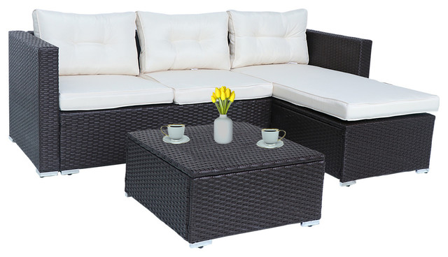 Home Beyond 3 Piece Patio Furniture Set, Patio Furniture 3 Piece Sectional Sofa Resin Wicker Beige
