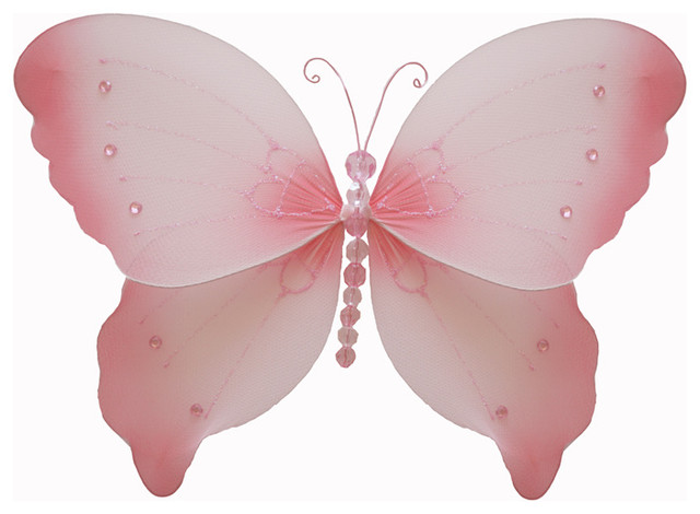 Pink Butterfly Wall Decoration : Hanging butterfly nylon butterflies wall ceiling