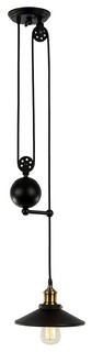 Matte Black Retro Industrial Pulley Adjustable Pendant Light, With Lense