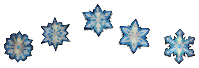 7&x27; Blue And White Shimmering Snowflake Christmas Light Garland.