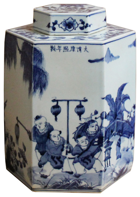 Chinese Blue and White Porcelain Oriental Scenery Hexagon Jar Container