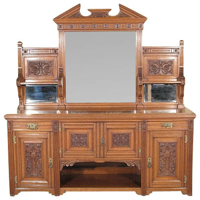 antique dining room sideboard. Antique English 7Ft Solid Oak Victorian Buffet Sideboard Server w  Mirrors buffets and