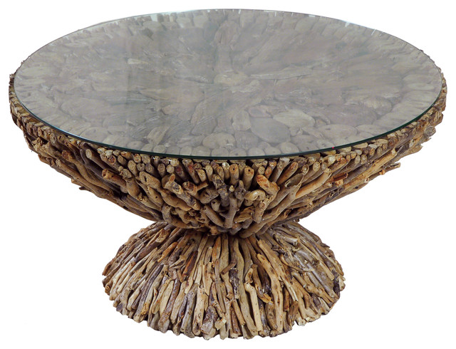 Driftwood round coffee table coastal coffee tables for Round coastal coffee table