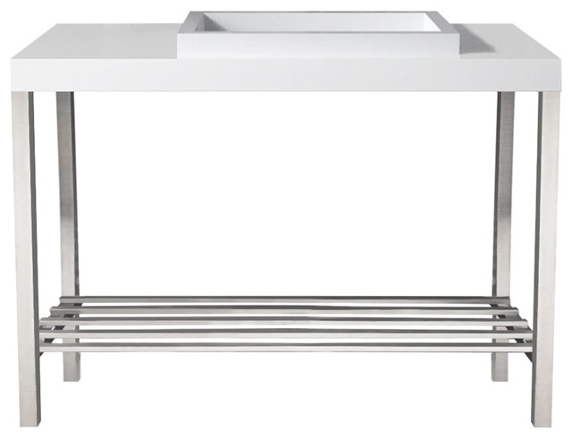 Metro White Stone Basin Vanity Stand Offset Integrated Rectangle Sink, Chrome.