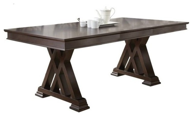 Steve silver adrian dining table espresso cherry transitional dining tables by homesquare - Silver dining tables ...