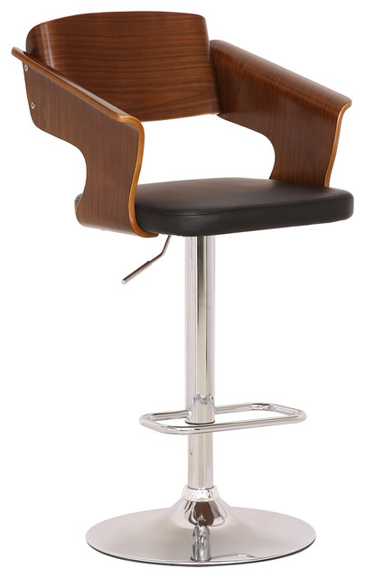 Marvelous Jeffrey Mid Century Adjustable Barstool Chrome Black Faux Leather And Walnut Short Links Chair Design For Home Short Linksinfo