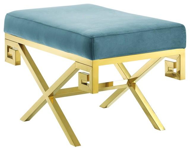 Super Rove Velvet Bench Gold Sea Creativecarmelina Interior Chair Design Creativecarmelinacom