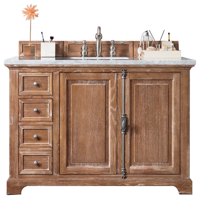 "Napa Single Vanity, Carrara White Stone Top, 48""."
