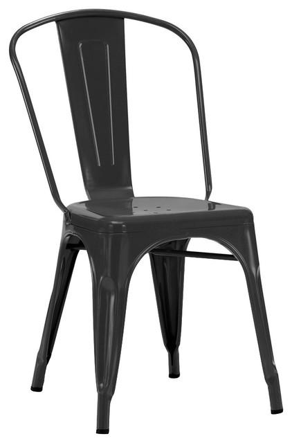 Dreux Matte Stackable Side Chairs, Set Of 2, Matte Black.