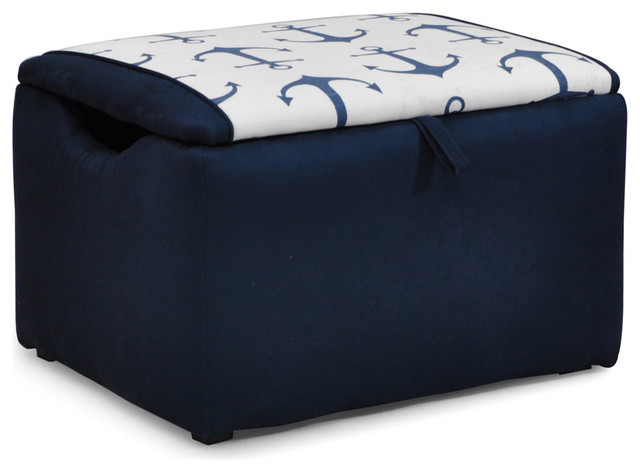 Anchors Navy Suede Upholstered Storage Bench Contemporary Kids Storage  Benches And
