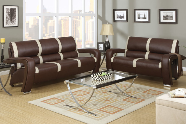Modern Brown Ivory Leather Sofa Couch Loveseat Living