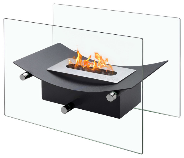 Verona Tabletop Fireplace, Black.