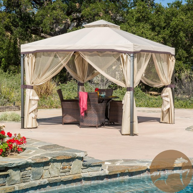 Christopher Knight Home Skyline Beige Gazebo Contemporary Gazebos By