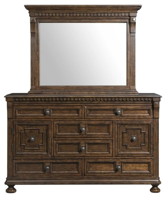 Elements Henry Dresser With Mirror, Walnut.
