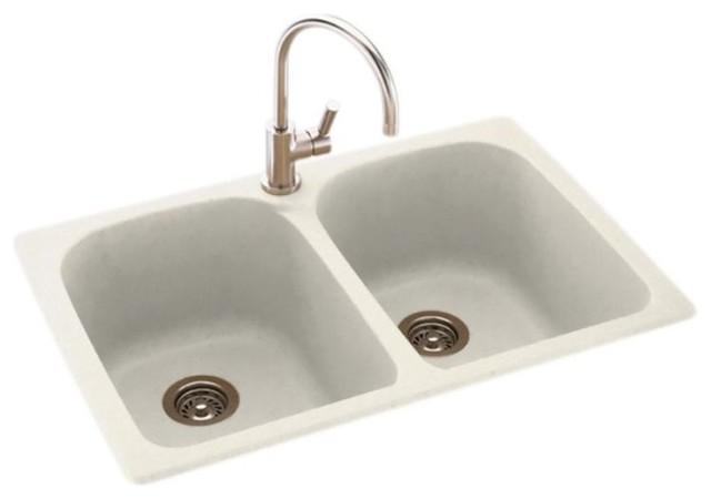 Swan 33x22x10 Solid Surface Kitchen Sink, 1-Hole, Glacier.