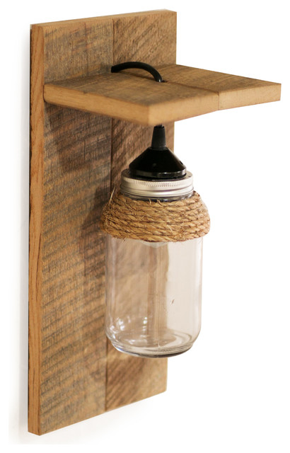 Barn Wood Mason Jar Light Fixture Wall Sconce With Rope Accent rustic-wall  sc 1 st  Houzz & Barn Wood Mason Jar Light Fixture Wall Sconce - Rustic - Wall ... azcodes.com