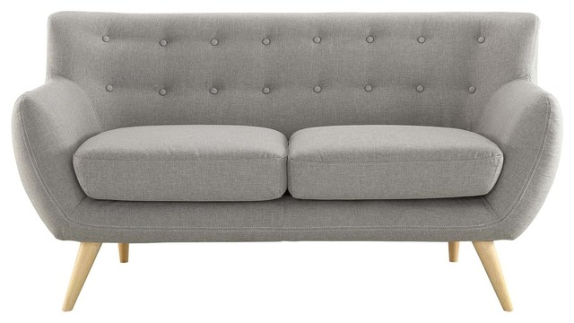 Remark Upholstered Loveseat, Light Gray.