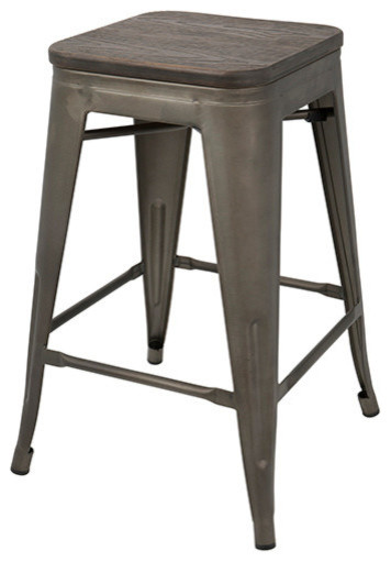 LumiSource Oregon Counter Stool With Antique Frame And Espresso Wood, Set of 2
