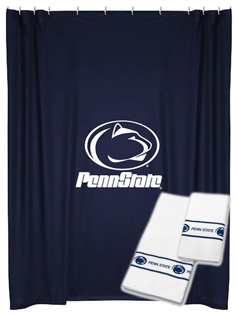 NCAA Penn State Shower Curtain Bath Towel Set College Bath shower-curtains