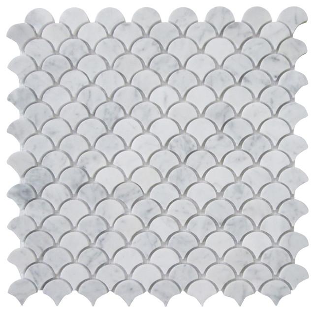 12 X12 Carrara White Medium Fish Scale Fan Shaped Mosaic Tile Honed