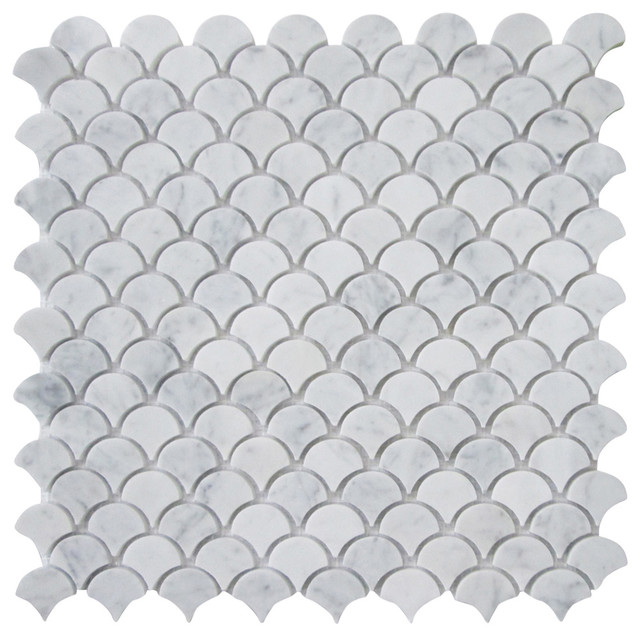 12 x12 carrara white medium fish scale fan shaped mosaic for Fan size for 12x12 room