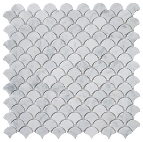 "Carrara Medium Fish Scale Fan-Shaped Mosaic Tile, Honed White, 12""x12"""
