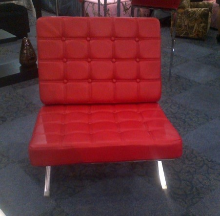 Barcelona Red Leather Accent Chair modern-living-room-chairs - Barcelona Red Leather Accent Chair - Modern - Living Room Chairs